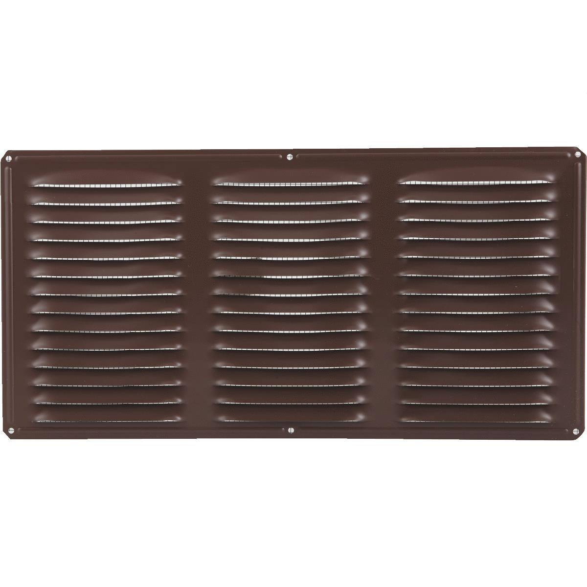 Heavy Duty Brown Aluminum 4-in L x 16-in W Soffit Vent with 8-in Mesh Screen